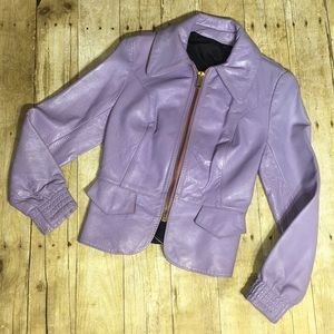Jackets & Blazers - Leather jacket Vintage purple lavender lilac  EUC